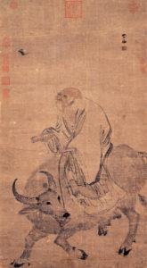 Laozi ratsutamas härjal läbi mäekuru Mingi dünastia aegse kunstniku Zhang Lu kujutatuna.